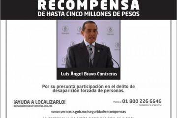 Recompensa por exfiscal Luis Ángel Bravo Contreras